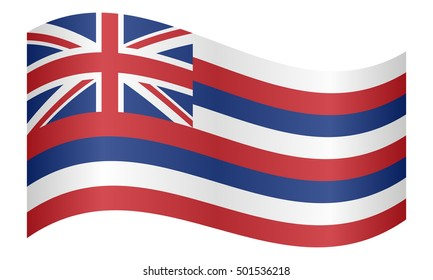 Flag of the US state of Hawaii waving on white background, vector illustration. Hawaiian official flag, symbol. American patriotic element. USA banner. United States of America background.
