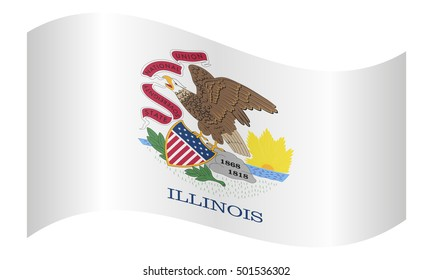 Flag of the US state of Illinois waving on white background, vector illustration. Illinoisan official flag, symbol. American patriotic element. USA banner. United States of America background.