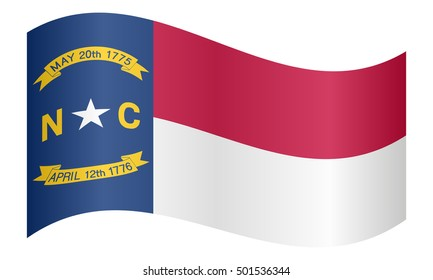 Flag of the US state of North Carolina waving on white background, vector illustration. North Carolinian official flag. American patriotic element. USA banner. United States of America symbol.