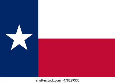 Flag of the US state of Texas in correct size, proportions and colors. Texan official symbol. American patriotic element. USA banner. United States of America background. Vector illustration