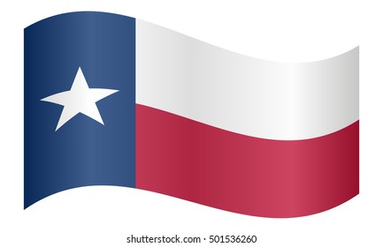 Flag of the US state of Texas waving on white background, vector illustration. Texan official flag, symbol. American patriotic element. USA banner. United States of America background.