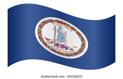 Flag of the US state of Virginia waving on white background, vector illustration. Virginian official flag, symbol. American patriotic element. USA banner. United States of America background.