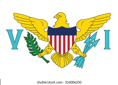 Flag of the U.S. Virgin Islands. Vector illustration.