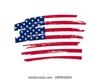 Flag of USA in brush stroke background.