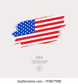Flag of USA in Grunge Brush Stroke : Vector Illustration