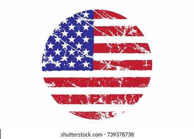 Flag of USA Grunge Style. Hand Painted with Brush. Vector Illustration.