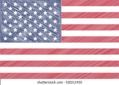 Flag of USA, pencil drawing vector illustration.