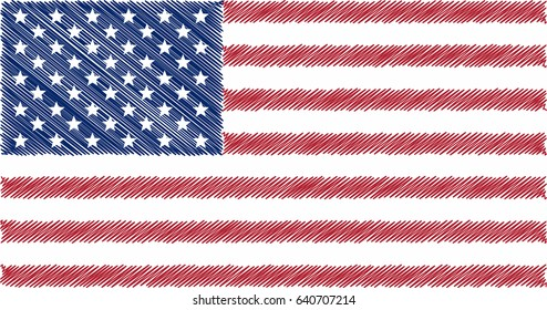 Flag of USA, pencil drawing vector illustration.