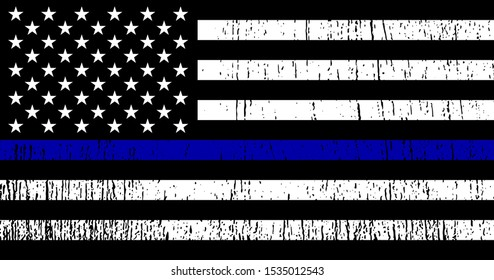 Flag USA with police support symbol, Thin Blue Line