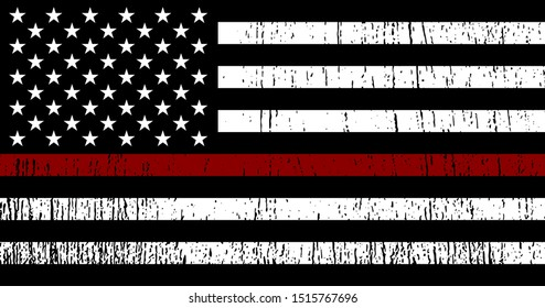 Flag of USA with Red Line - symbol firefighters. Vector EPS 10