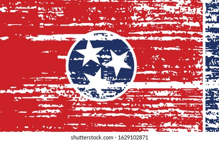 The flag of the USA state of Tennessee with a grunge effect. State flag in brush strokes. Vector illustration.