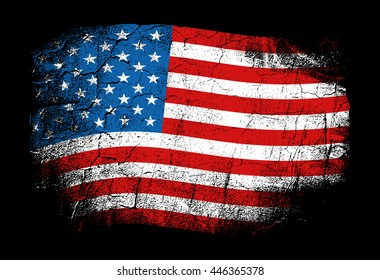 Flag of the USA, the United States of America. Vector illustration in grunge style with cracks and abrasions. Good image for print.