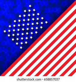 Flag of USA, vector illustration. Conceptual American Flag background, stars, stripes.