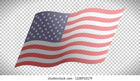 Flag of USA. Vector illustration. Isolated on transparent background