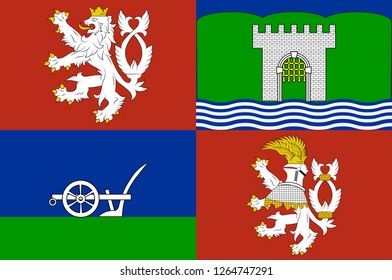 Flag of Usti nad Labem Region is an administrative unit of the Czech Republic. Vector illustration