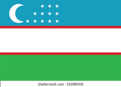 Flag of Uzbekistan. Vector illustration.