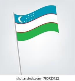 Flag of Uzbekistan , Uzbekistan flag waving isolated vector illustration,Uzbekistan combined with Uzbekistan isolated on white. Language learning, international business or travel concept.