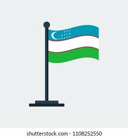 Flag of Uzbekistan.Flag Stand On White Background. Vector Design