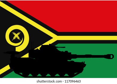 The flag of Vanuatu with the silhouette of a tank