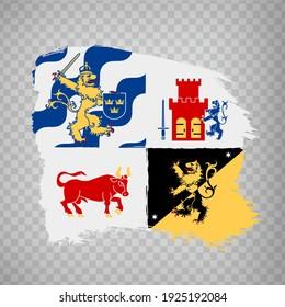 Flag Vastra Gotaland County  brush strokes. Flag of Vastra Gotaland County on transparent background for your web site design, app, UI. Sweden. EPS10.