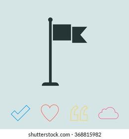 Flag vector icon. Check mark.