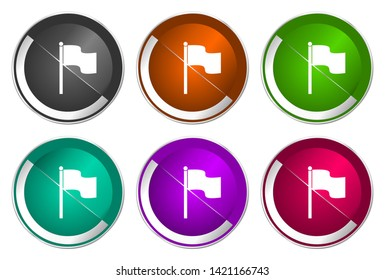 Flag vector icons. Chrome border round web buttons. Silver metallic pushbutton colorful set