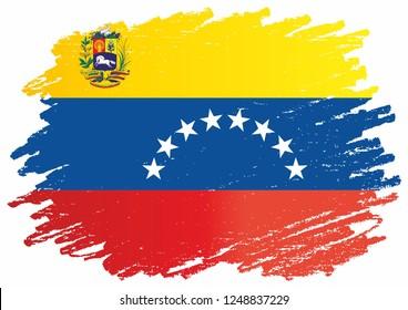 Flag of Venezuela, Bolivarian Republic of Venezuela, Latin America. Template for award design, an official document with the flag of Venezuela. Bright, colorful vector illustration.