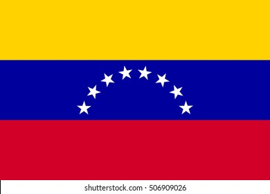 Flag of Venezuela in correct size, proportion and colors. Accurate official standard dimensions. Venezuelan national flag. Bolivarian Republic of Venezuela patriotic symbol, banner, background. Vector