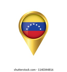 Flag of Venezuela.symbol check in Venezuela, golden map pointer with the national flag of Venezuela in the button. vector illustration.