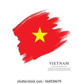 Flag of Vietnam, brush stroke background