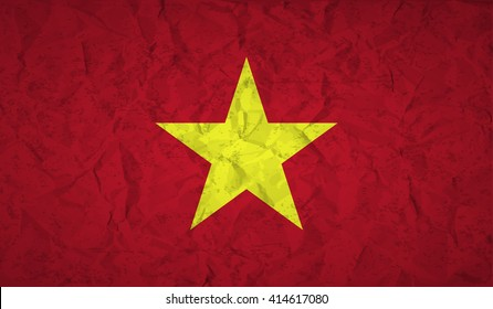 Flag  of Vietnam with the effect of crumpled paper and grunge