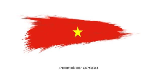 Flag of Vietnam in grunge brush stroke, vector grunge illustration.