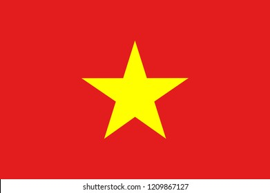 Flag of Vietnam.original and simple Vietnam flag isolated vector in official colors and Proportion Correctly The Vietnam is a member of Asean Economic Community (AEC)