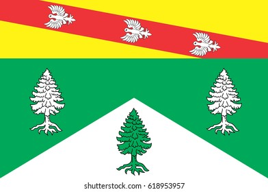 Flag of Vosges is an eastern department of France. Vector illustration