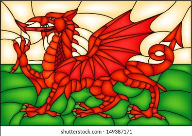 Flag of Wales with Dragon, UK, vector illustration in stained glass window style