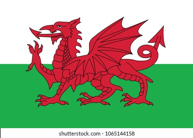 Flag of Wales. Flag of Europe. eps 10.