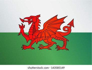 Flag of Wales / UK -  Red dragon on the white and green flag, vector illustration