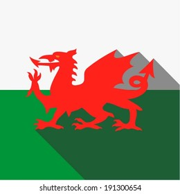 Flag of Wales / UK - Red dragon on the white and green flag, vector illustration, web icon, app design