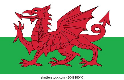 Flag of Wales. Vector. Accurate dimensions, element proportions and colors.