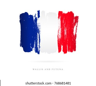 Flag Wallis and Futuna. Vector illustration on white background. Beautiful brush strokes. Abstract concept. Elements for design.