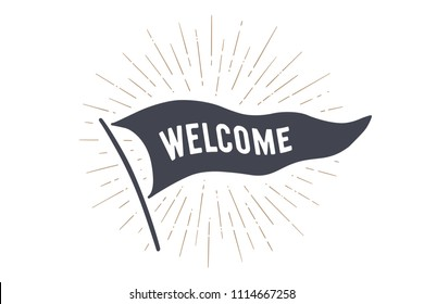 Flag Welcome. Old school flag banner with text Welcome, Hello. Ribbon flag in vintage style with linear drawing light rays, sunburst and rays of sun. Hand drawn design element. Vector Illustration