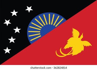 Flag of West Sepik provinces,autonomous region,district of Papua New Guinea. Vector illustration.