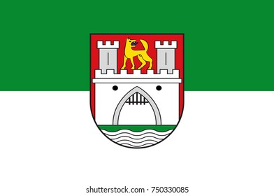 Flag of Wolfsburg is the fifth largest city in Lower Saxony, Germany. Vector illustration