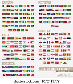 Flag of the world, big collection sorted alphabetical by Africa, America, Asia, Europe and Oceania. Official dimension vector flag.