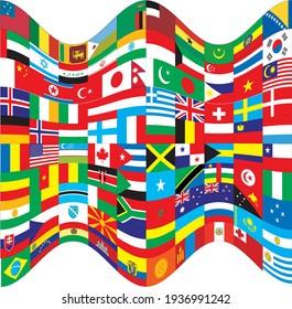 Flag of World - Flag Vector  - Editable flags