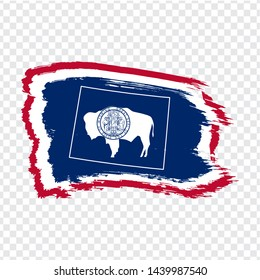 Flag of Wyoming from brush strokes and map of  Wyoming. United States of America. High quality map Wyoming and flag on transparent background. Stock vector. Vector illustration EPS10.