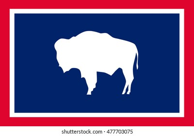 Flag of Wyoming is a state of the Western United States - vector