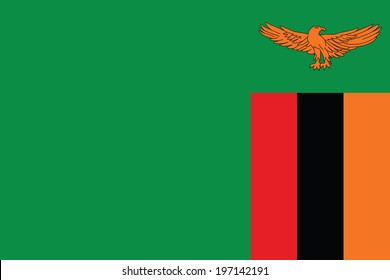 Flag of Zambia. Vector. Accurate dimensions, element proportions and colors.