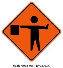 Flaggers In Road Ahead Warning Traffic Sign,Vector Illustration, Isolate On White Background Icon. EPS10