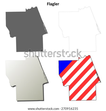 Flagler County Florida Outline Map Set Stock Vector Royalty Free